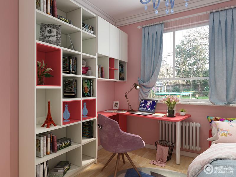书桌和书架的设计呈L型既能有效地分割空间,又让整个书架有了强大的储物功能。