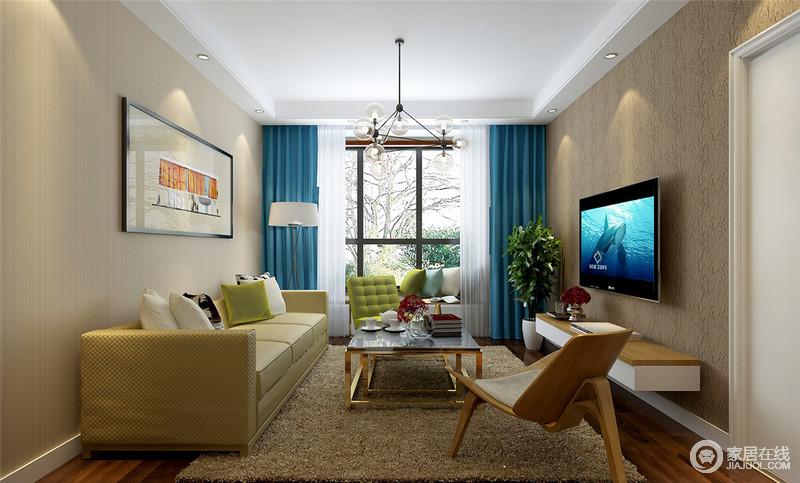 浅驼色的细腻条纹壁纸与棕褐色硅藻泥为墙面背景,温暖的古旧感被营造出来。沙发、茶几、椅子与窗帘的不同材质、色调等多维度的演绎,使空间温和中多了份活力呈现。