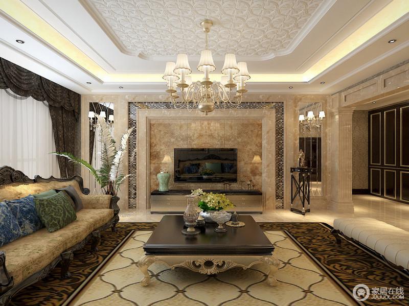 欧式奢华的居室有的不只是豪华大气,更多的是惬意和浪漫。通过完美的曲线,精益求精的细节处理,带给家人不尽的舒服触感,实际上和谐是欧式风格的最高境界。