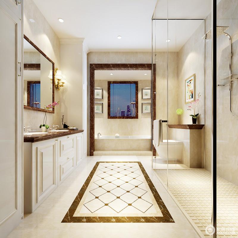 主卫虽然干湿分明,但是独立的浴缸区,让沐浴更为放松;原本米色砖石铺贴的立面,因为矩形和菱形砖石,装饰出了几何个性,让和暖的空间多了些许精致;盥洗柜搭配镜子和壁灯,让生活充满了实用设计带来的惬意感,与挂画搭配,和趣相生。