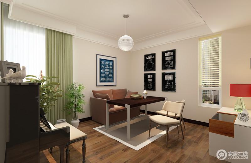 书房以白色立面和原木地板来美化空间,朴质简单,墙面上的黑白建筑图点缀出反差与经典;绿色窗帘和红色台灯的冲撞,不仅激活了空间色彩,而且让规整实用的现代的家具显得质感上乘,当你闲了的时候,不妨坐下来弹弹钢琴,读读书,也是不错的消闲方式。