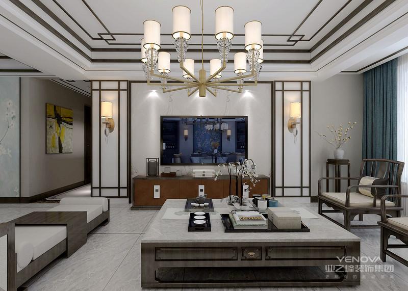 客厅是传统与现代居室风格的碰撞,设计师以现代的装饰手法和家具,结合古典中式的装饰元素,来呈现亦古亦今的空间氛围。中式风格的古色古香与现代风格的简单素雅自然衔接,使生活的实用性和对传统文化的追求同时得到了满足。影视墙的造型简洁现代,却在醒目位置饰以中式书法,这种绝妙的组合给人以强烈的视觉意志力,成为时尚与古典的柔媚结合。