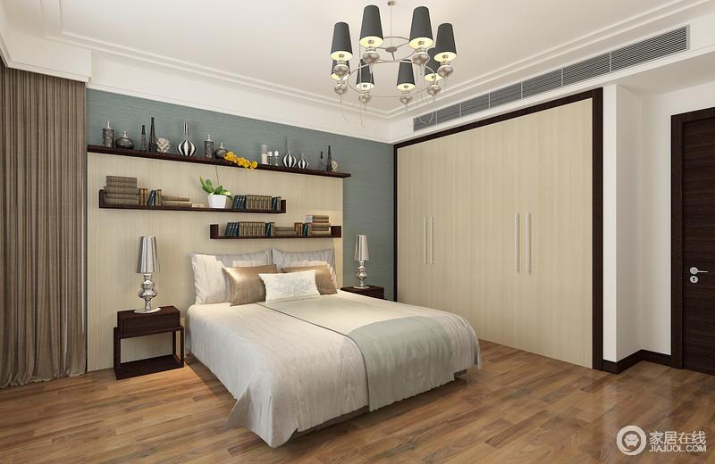 卧室以功能为向导,嵌入式衣柜与墙体形成一个立面,十分平整,并与背景墙置物架以原木取材,与褐色地板形成不同的色彩层次,却打造一个足够自然朴质的空间;浅蓝色背景和银色台灯,搭配白色窗帘和褐灰色窗帘,平衡出空间的成熟,让生活足够舒适。