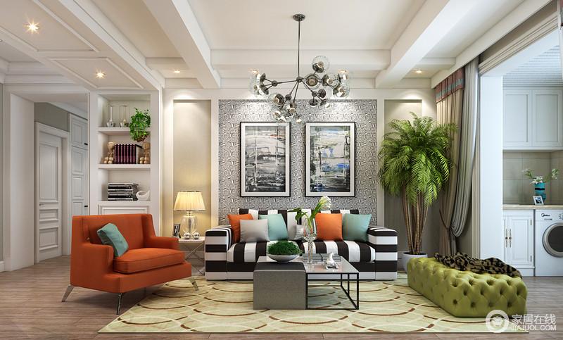 客厅从天花到家居,运用丰富图案和多样元素装饰,条纹、印花、交叉曲线和绗缝等,在色彩缤纷渲染中,精致优美的格调让空间层次感足,显得时尚活力;对称的背景墙,同时设计了置物柜,增添收纳。