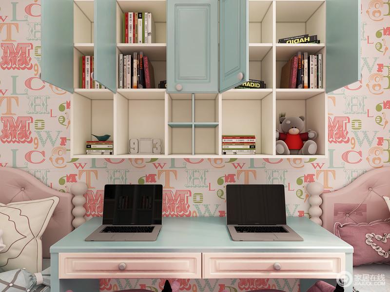 吊柜+开放格的组合床设计可以做成灵活的收纳空间,大大的提升了收纳空间。