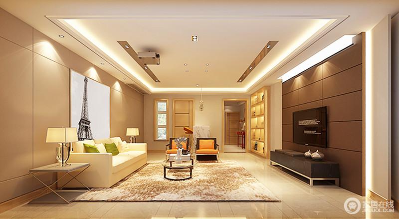 客厅以驼黄色与褐色板材来装饰立面,色彩对比之中,彰显空间的层次;吊顶以灯带和面板灯、射灯的方式实现采光的需求,搭配现代风的家具,让整个家色彩和暖,而不失都市感。