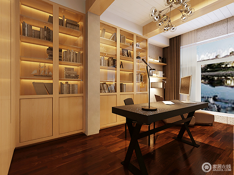 书房像是一个告别都市纷争的室外桃园,深胡桃色的木地板和黑色书桌搭配,足够酿造空间的沉静;空间的木梁规避了结构的缺陷,搭配原木定制书柜、落地灯,为主人营造了一个足够文艺和暖心的空间。