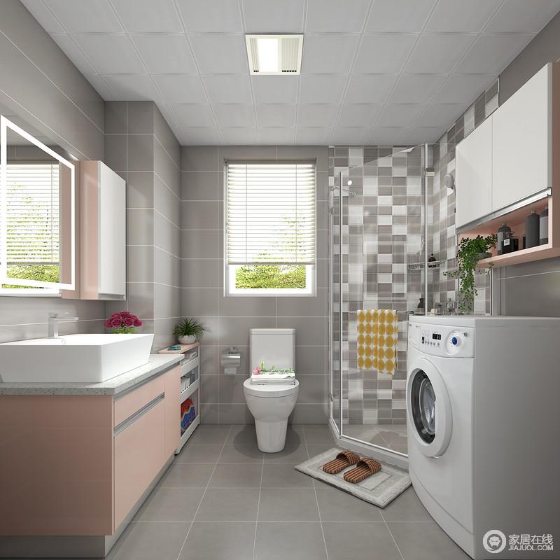灰色墙面和地砖让粉色的柜体变得很扎眼,犹如夜空中的一颗明星。