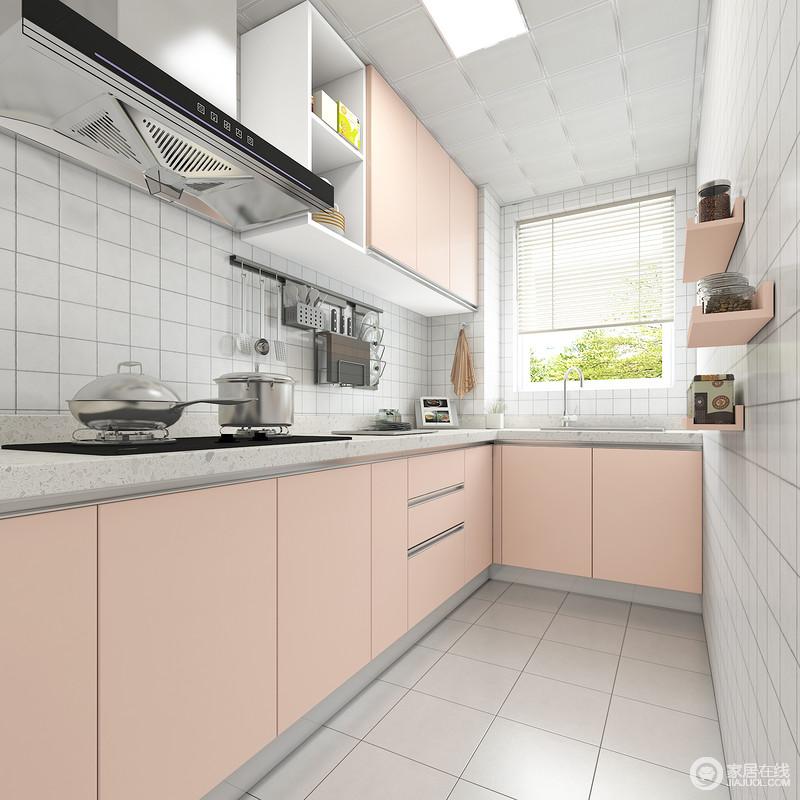 粉色和白色的搭配让油腻的厨房清新感十足,做菜的心情也会舒畅很多。