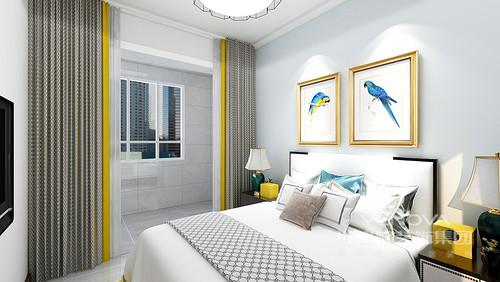 卧室浅灰色的瓷砖让空间更为素雅,浅蓝色背景墙上的黄鹂鸟,给予空间生命的灵动,缓解了灰色窗帘等带来的沉静;白色床品颇为精致,搭配新中式黑檀木床头柜和绿色陶瓷台灯,黄色宝盒,让家不失色彩魔力。