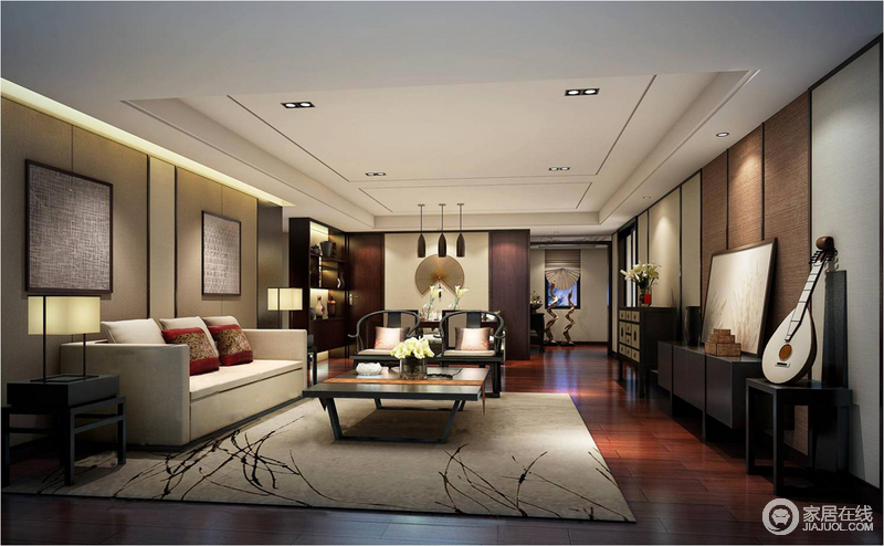 休闲室具有多功能性,从米色沙发的休闲区到餐区,都以中式家具为主,素朴而大气;素色树叶风景地毯和挂画镌刻出了东方雅致,与黑檀木中式家具组合出了厚重和内蕴的东方艺术,搭配扇子、灯饰,成就稳重的空间。