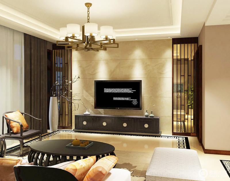 客厅的气氛格外和暖,从米色砖石和灯光的调和,让人感到一阵温馨;背景墙的镂空木楞屏风墙无形中,赋予空间呼吸感,并增加了两个空间的通透感,而地砖的回字纹设计,无疑,让你感受到东方之美。