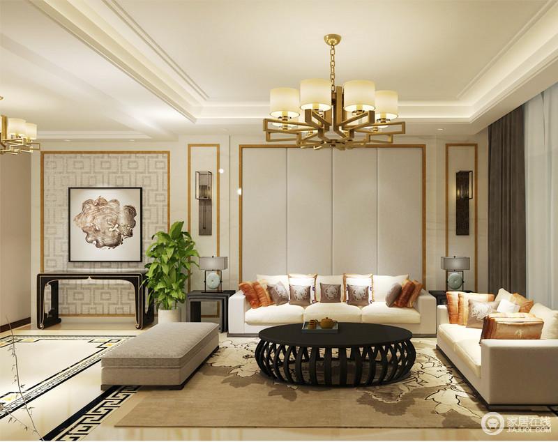 客厅白色的软包背景墙因为黄铜金属框建的几何造型更为规整,就连玄关的挂画和岸几,都镌刻出了中式雅致和古朴;现代布艺沙发与新中式岸几、陶瓷台灯、壁灯组合,生发出了空间的些许禅静。