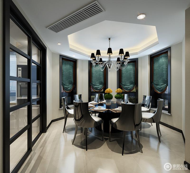 餐厅的玻璃门让整个空间不拘束,以环形的设计成就空间的建筑格局,而吊顶则以多边形的设计加强了建筑美学;黑色餐椅的现代摩登,与墨绿色卷帘搭配出了现代华丽,灯饰点缀,让一切都和谐而雅致。