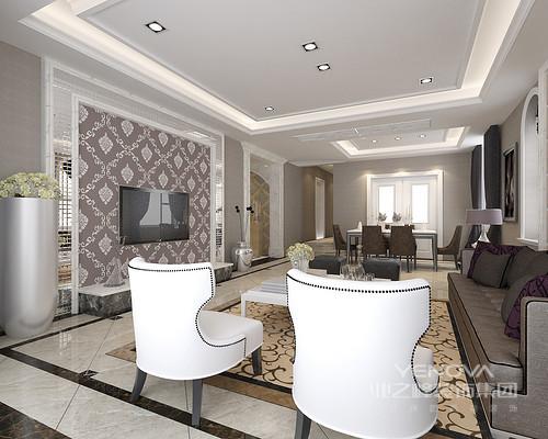 客餐厅连为一体,白色镜面背景墙结构和欧式繁华之晕的壁纸虽然线条利落,但是却晶莹轻奢;沙发咖色和铆钉白色扶手椅的新古典之风,让整个客厅层次明确,色彩分明,地毯的图案更填中性和稳重。