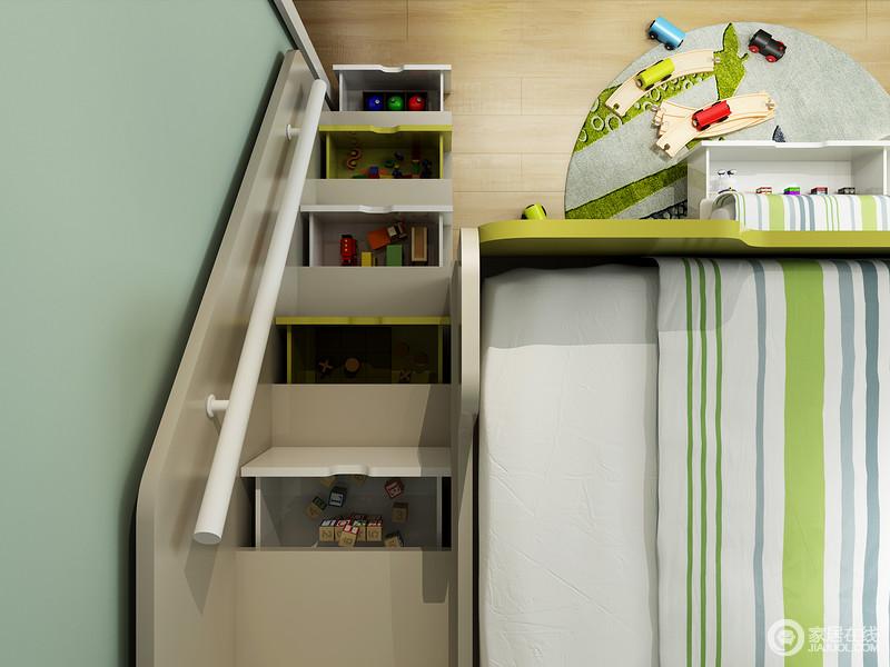 床箱抽屉+梯柜与储物抽屉,让孩子的零碎杂物都能分类收纳,不仅可能实现更佳布局,还可享受更多的乐趣。