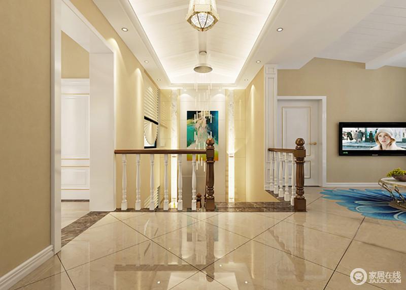 二楼的空间被设计成了一个开放式的休闲之所,米色地砖搭配淡黄色漆,渲染了暖和感;美式复古的楼梯以胡桃色和白色为主,凸显朴质之余,也足显年代感,而吊顶拱形面因为灯带和吊灯的装饰,呈现了结构之美和复古精致,多色的挂画以蓝和绿为主,调和着空间着色彩,不会显得浮躁。