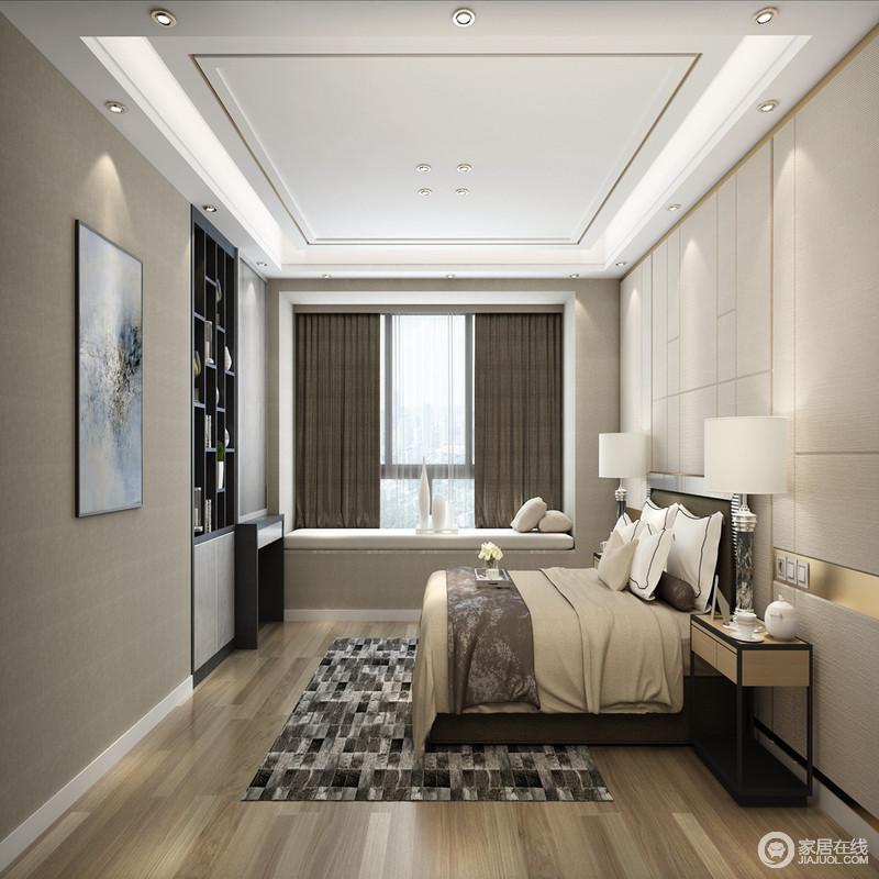 卧室以浅色和深灰色木纹壁纸装饰温和感,背景墙的几何线条简约之余扫去了单调;矩形铁艺实木床头柜和台灯带着现代灵气,让生活更为舒适;驼色床品的柔软和深驼色窗帘以中性大气,让空间格外稳重;从飘窗到墙体内的微型书柜,无不再现了一种实用主义。
