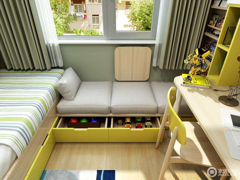 床边休闲飘窗既可以做为休闲阅读区,抽屉柜的设计,进一步扩充了储物空间。
