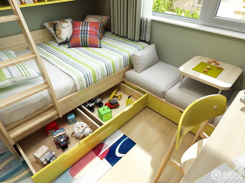 床箱抽屉的设计,让小主人和床边的杂物说拜拜!也可以储物日记或者各种睡前用品,睡前将它们取出。