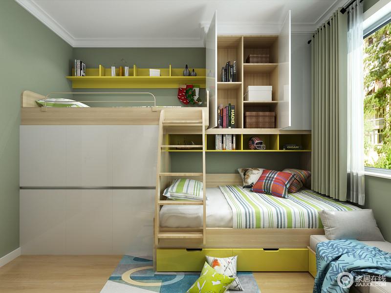 两张小床依次摆放,高低错路,让大宝二宝彼此陪伴,又有各自独立的小空间。根据房间格局规划,结合宝贝的性别和色彩喜好搭配软装,很轻易就能做出活泼温馨的空间。