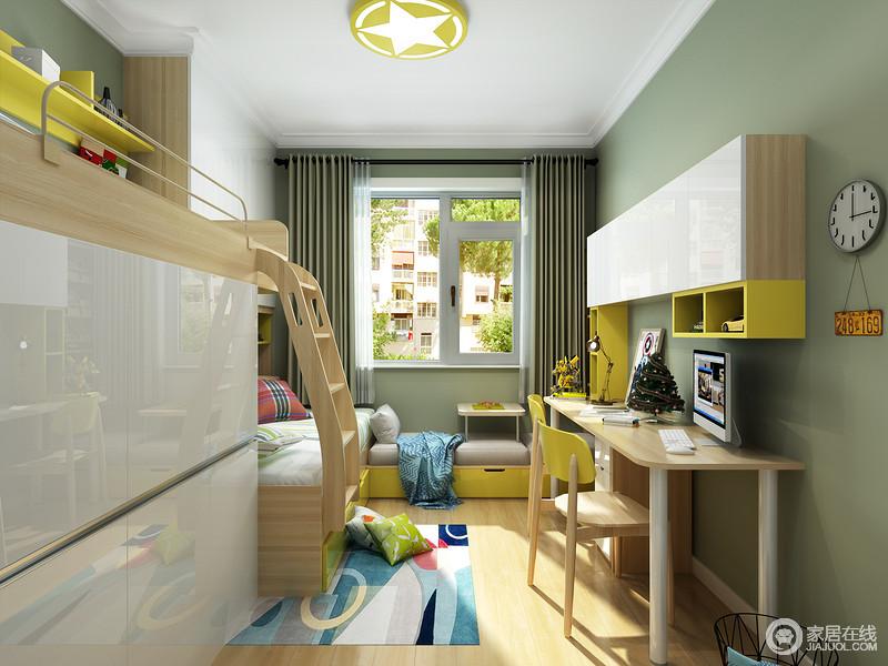 整个空间U字型布局,左侧上下床满足2个孩子的睡眠,右侧设计成了孩子们学习的地方,窗户贴心的设计成了卡座,既给孩子们提供了休闲娱乐的地方,还增加了收纳。