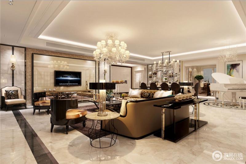 客厅以白色为基底,浅咖啡色系铺染,与天花不加修饰的简单构成一种利落;新古典沙发与现代金属质感的家具搭配,营造一种和暖。