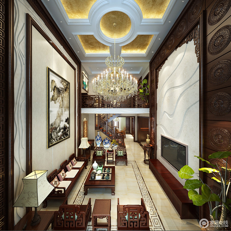 客厅以挑高成就空间感,欧式复古的吊顶、水晶灯组合装饰出辉煌和富丽;米色地砖和回字纹砖线以简洁的方式表现东方之意,而明清系的中式家具与陈列的古董器物,足显中式古韵和文化厚泽,让空间具有东方奢贵。