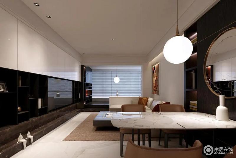 """房间整体没有直接刷上""""大白墙"""",每一处都能找到设计的痕迹,简洁之中,展现了现代设计的大气。"""