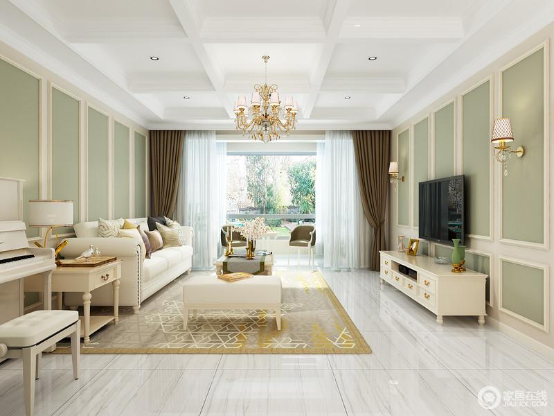 客厅结构规整,但是设计师巧妙将石膏吊顶做成几何,与绿色石膏墙形成互动,让整个空间更具动律,再加上色彩上的清新,无疑让空间氛围清和了不少;欧式家具的浅色保持了生活应有的宁静和欧式轻奢。
