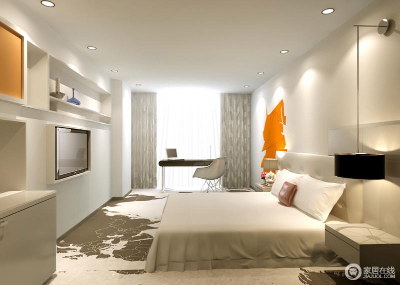 卧室以白色为主,即使地面铺贴了白色与褐色地毯,也不失大气、洁净和利落;灯饰也黑白组合对称在床头柜两侧,与书桌等演绎现代黑白时尚;电视柜利用墙面的空间,实现收纳,橙色柜面与墙面的装饰,为空间带来色彩和橙色活力,满是朝气。