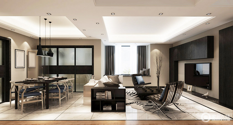 客餐厅一体式设计,足够现代大气,通过吊顶和边柜做了简单的区分,却足够开放互动;米驼色的空间温实朴素,黑白色现代家具组合与餐厅的中式木椅,将空间的艺术感裹挟出了生活的质感。