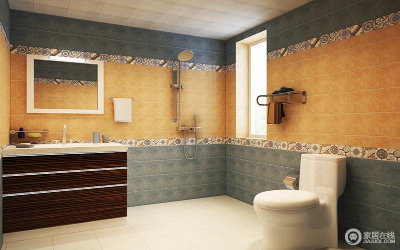 卫生间选用了进口防水瓷砖,花色精美,工艺考究,在颜色的选用上也是格外用心,使整个色彩搭配起来清爽中带着温馨。