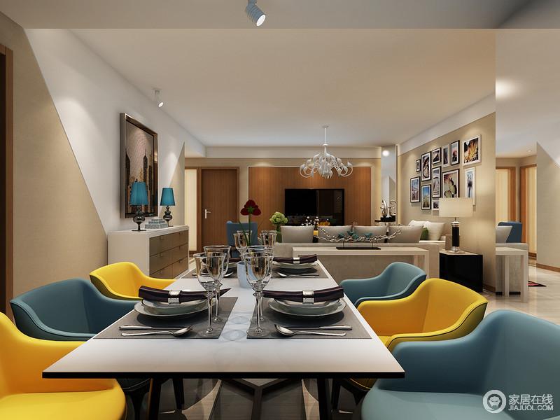 开放式的布局令生活再无局限,设计利用借景来糅合现代艺术的表现形式;绿色与黄色半圆餐椅为空间平添了一份活力,明亮中不乏简约和实用。