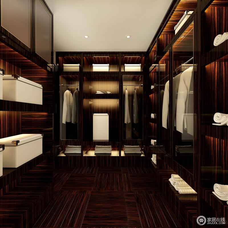 褐色木材打造得衣帽间呈现出其自然的纹路,除了精致更多的是对生活品质的要求,也体现着设计带给人对设计观念的改变。