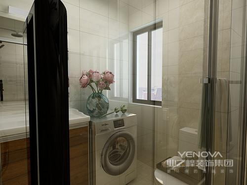 灰色墙砖和灰色地砖的设计让卫生间文艺范十足,干湿分离的设计使用起来更加便利。洗衣机上的花卉让整个空间多了分生机。