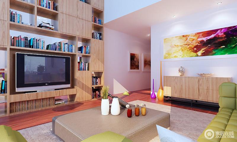 空间方正规整,但是功能性十足,几何置物柜的设计,更显实用性,实木边柜上的彩色挂画熏染了一个多彩的艺术氛围,带来色彩魔力,让生活时刻充满温馨。