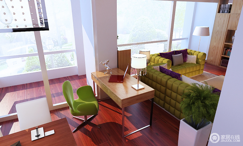 书房开放式的格局,更为自在,落地窗将充足地光线引入室内,明快而温暖;褐红色木地板的色彩让空间不沉闷,搭配绿色椅子,让办公也舒心。