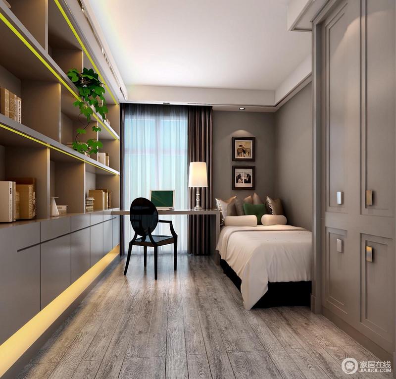 灰色调的卧室简约而沉寂,线条简单、造型简约的书柜现代气息浓郁,而悬挂式书桌更以简单与黑色新古典座椅呈现了优雅;白色床品的纯净与动物挂画的可爱,让整个卧室尤为肃静、生动。
