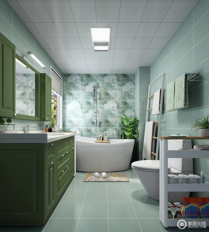 卫生间里放置一个浴缸能让其抛开一切烦恼和焦虑享受家里安逸的时光,干净清新的环境让整个颇为高雅。