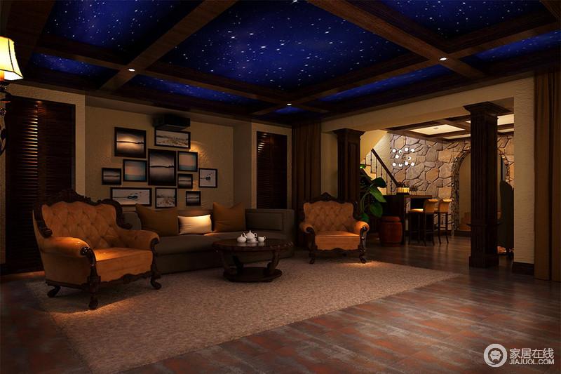 休息室中并没有进行大的修缮,而是利用粗粝的砖石和裸露地红砖塑造一个淳朴的空间;豪华、质感精美的橙色欧式单人沙发,倍加奢华,一扫平凡,提升了空间的品格。
