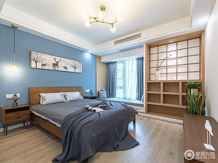 简洁明亮的卧室,一眼便能感受到阳光佛面,随手可触的收纳柜带着自然、有温度的胡桃木床柜,赋予生活木的温情;空间内的布艺沙发以灰色系为主,每一处都是家的味道:朴素而温实。