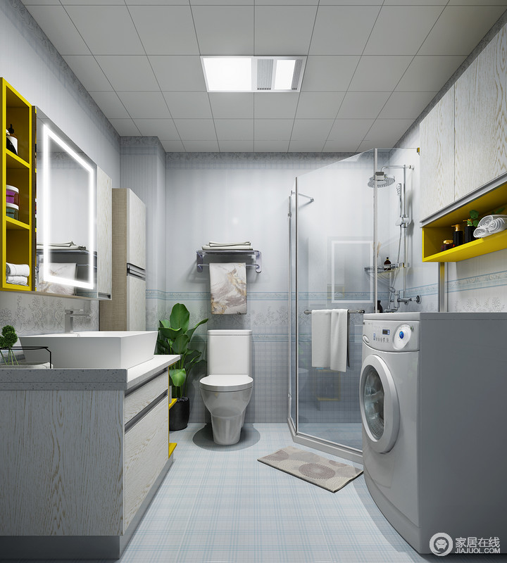 整个卫生间以蓝白方格砖来铺贴空间,搭配灰色木纹收纳柜,让空间利落而简洁;干湿分离的设计丝毫不影响生活的洁净度,反而,更显讲究。