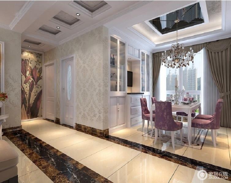 餐厅半开放式的设计,更有空间感,定制得储物柜让空间规整,而简欧家具与之组合,绽放着复古的格调。