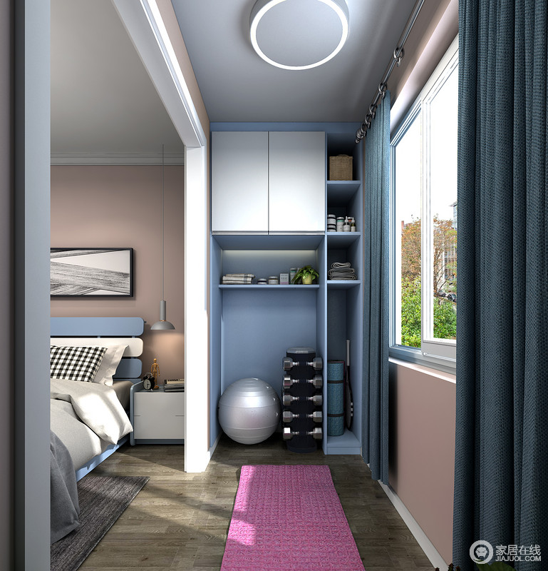 墙面上可以放上挂架,放上毛巾,方便业主运动后使用。窗外的美景陪伴,让健身更加轻松愉快接近自然。