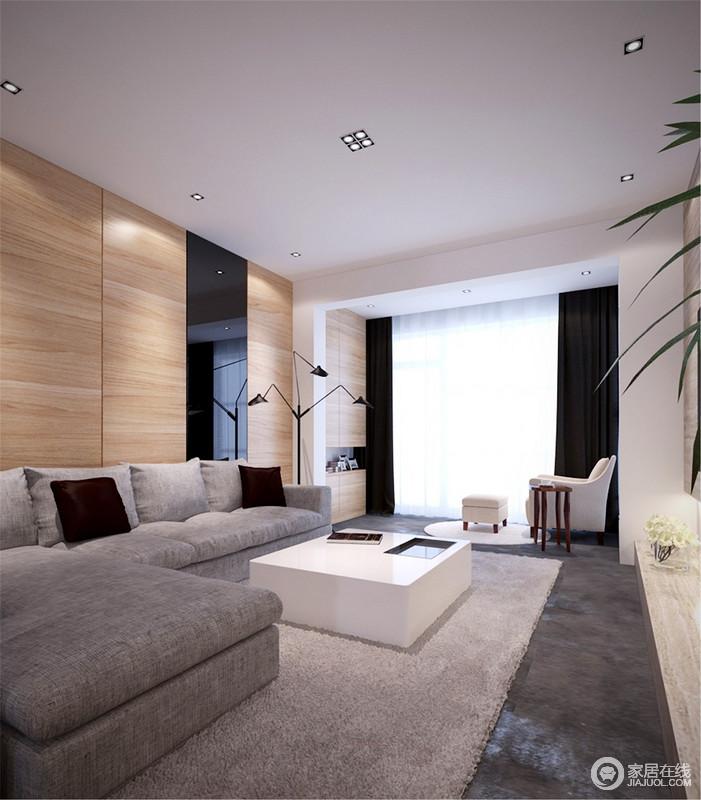 客厅背景墙原木材质的温实缓解了原本灰色布艺沙发和地面的灰冷单调,带来些许温度,而嵌入式的储物设计,无疑,张扬着实用艺术;白色方几与黑白两色窗帘装饰出时尚,而米色扶手椅与木几足以让你在疲劳时得以放松。