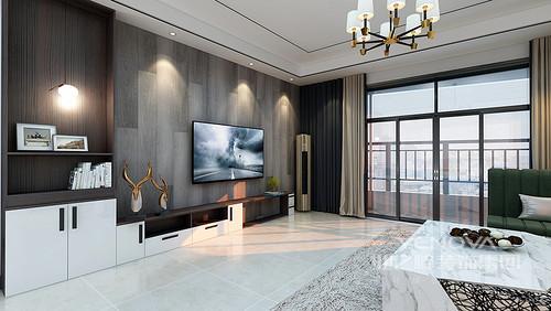客厅与餐厅通过石墙简单强调了空间属性,深灰色板材装饰,与浅灰色背景墙构成深浅对比,而两幅挂画无形之中装饰出抽象艺术;墨绿色沙发搭配银色靠垫和黄铜落地灯,让空间多了轻奢职位,而大理石制成的茶几和草色地毯为空间带来原始朴质,调和出生活的多趣。