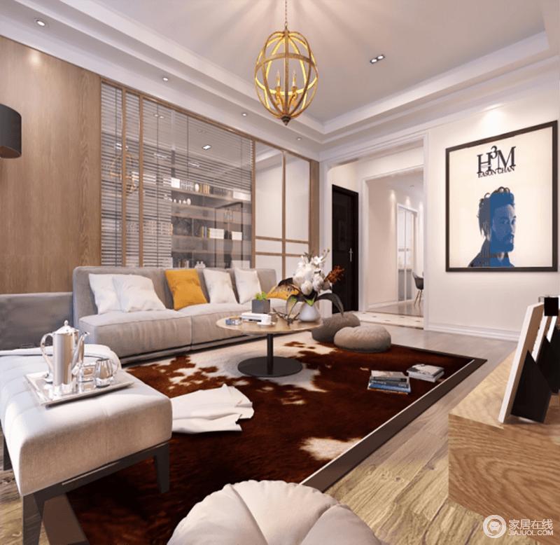 客厅虽然墙面以灰色漆与白色吊顶做呼应,但是木地板的朴质,平衡着空间的温实;灰色布艺沙发上的白色、黄色靠垫作装饰,调和出明快,褐棕色地毯与之塑造沉稳,造就现代之美。