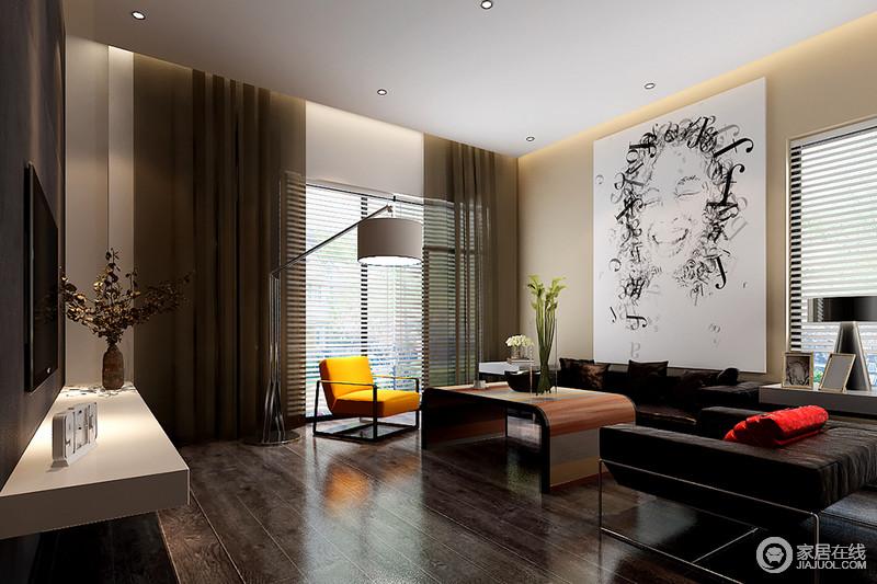 休闲室线条利落简洁,米色漆的背景墙因为黑白人物画多了简单和快意,同时与黑咖色法兰绒沙发呈色彩对比,和谐而时尚;白色百叶窗的线条设计多了光影艺术,化解了原木地板的沉稳,再加上咖色纱幔带来的朦胧,与明黄色扶手椅碰撞出跳跃艺术,激活了空间。