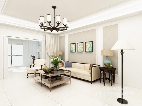 空间线条十分规整,白色的石膏线和立面设计,让空间多了线性之美;吊顶的驼色与背景墙张贴的驼色浮雕壁纸构成色彩和谐,满是温和,美式家具组合体现出的复古螺纹设计,无疑,为家奠定了美式轻奢。